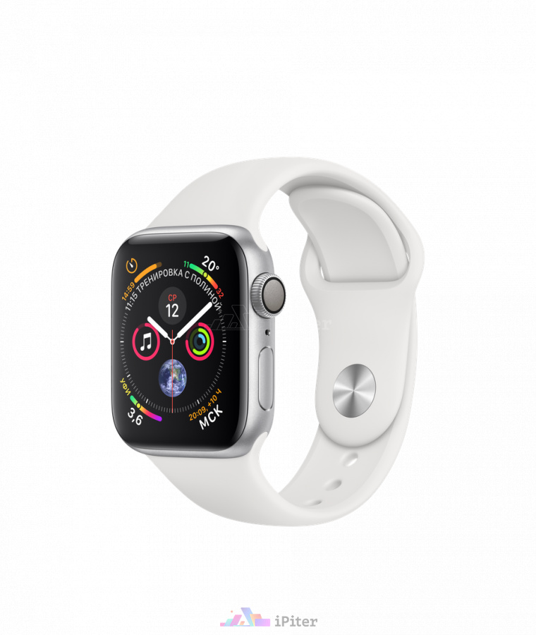Фото Купить Apple Watch Series 4 (MU642) <br>40 мм, алюминий серебристого цвета, спортивный ремешок белого цвета